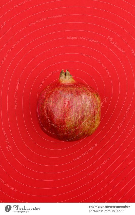 Jammy Granatapfel auf Rot Kunst Kunstwerk Abenteuer ästhetisch Frucht rot lecker Gesunde Ernährung vitaminreich Südfrüchte Farbfoto mehrfarbig Innenaufnahme
