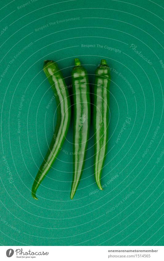 Jammy Chilli auf Grün Kunst Kunstwerk ästhetisch 3 Chili Chilisoße Chiliernte grün knallig grasgrün Ernährung Kräuter & Gewürze Farbfoto mehrfarbig