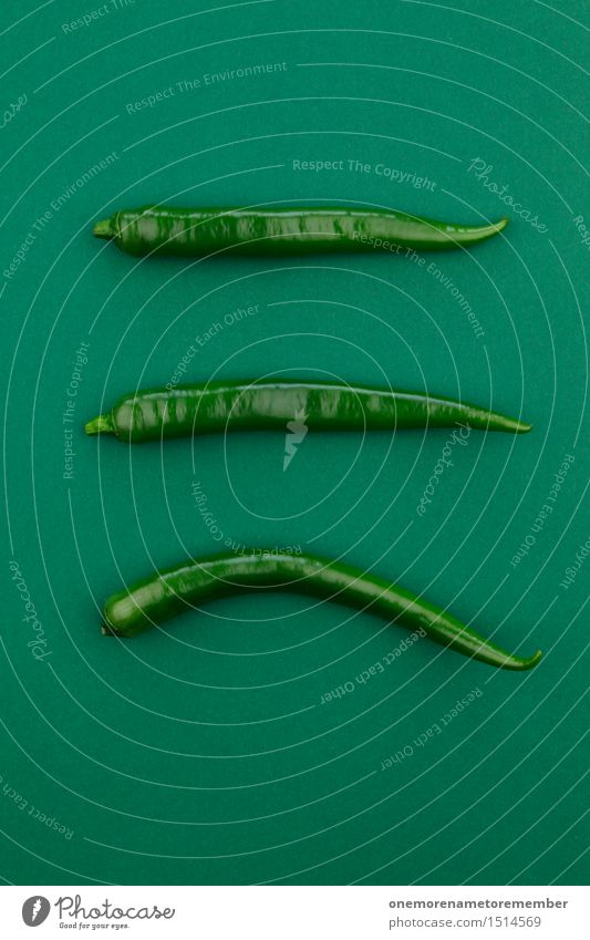Jammy Chili-Dreier auf Grün grün Kunst Design Dekoration & Verzierung ästhetisch Grafik u. Illustration 3 Scharfer Geschmack Küche Gemüse lecker