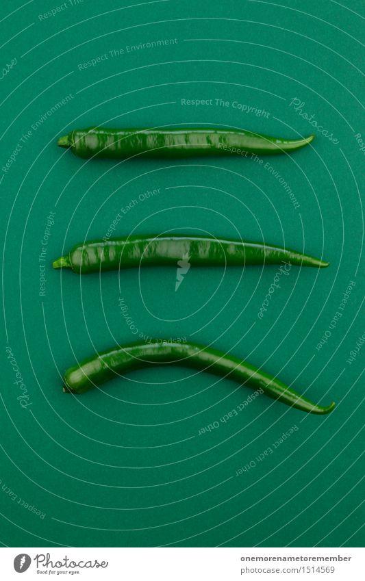 Jammy Chili-Dreier auf Grün Kunst Kunstwerk ästhetisch Chilisoße Chiliernte grün 3 Scharfer Geschmack Dekoration & Verzierung Scharfsinn Würzig dunkelgrün