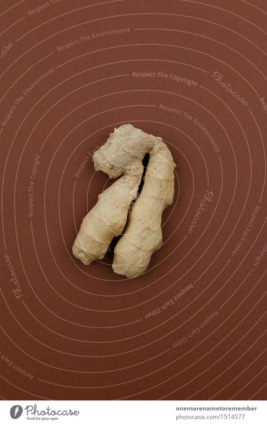 Jammy Ingwer auf Braun Kunst Kunstwerk ästhetisch Wurzel Wurzelgemüse Kräuter & Gewürze lecker Erkältung braun Lebensmittel Gesunde Ernährung Farbfoto