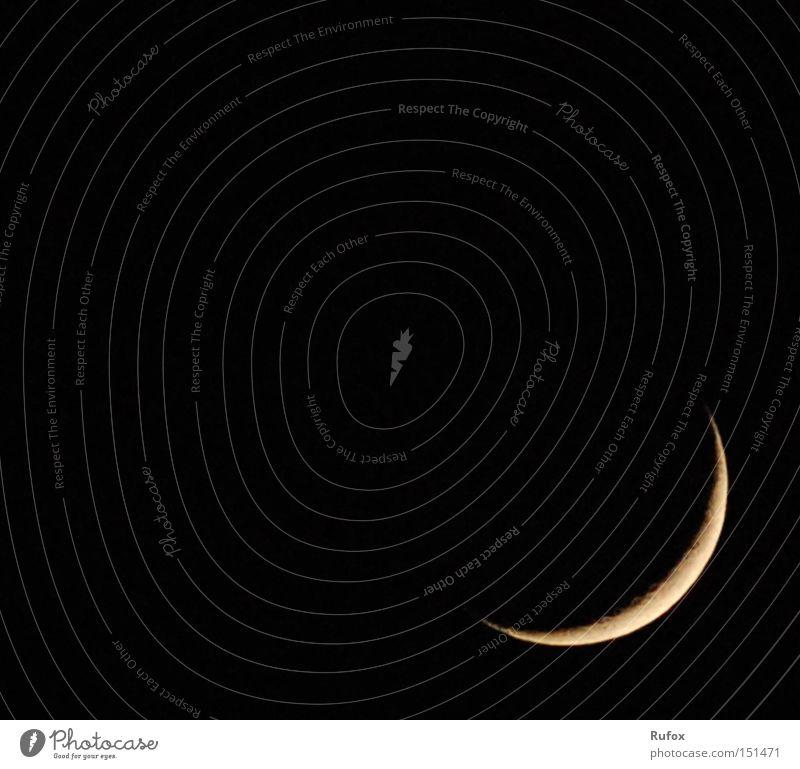 Eck Mond Farbfoto Außenaufnahme Menschenleer Textfreiraum links Textfreiraum oben Textfreiraum Mitte Nacht Licht Schatten Luft Himmel nur Himmel