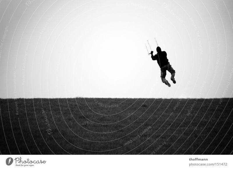 Jump 4 Freedom! Kiting Mann springen Wiese trocken Wasser Mütze steigen Sport Spielen fliegen