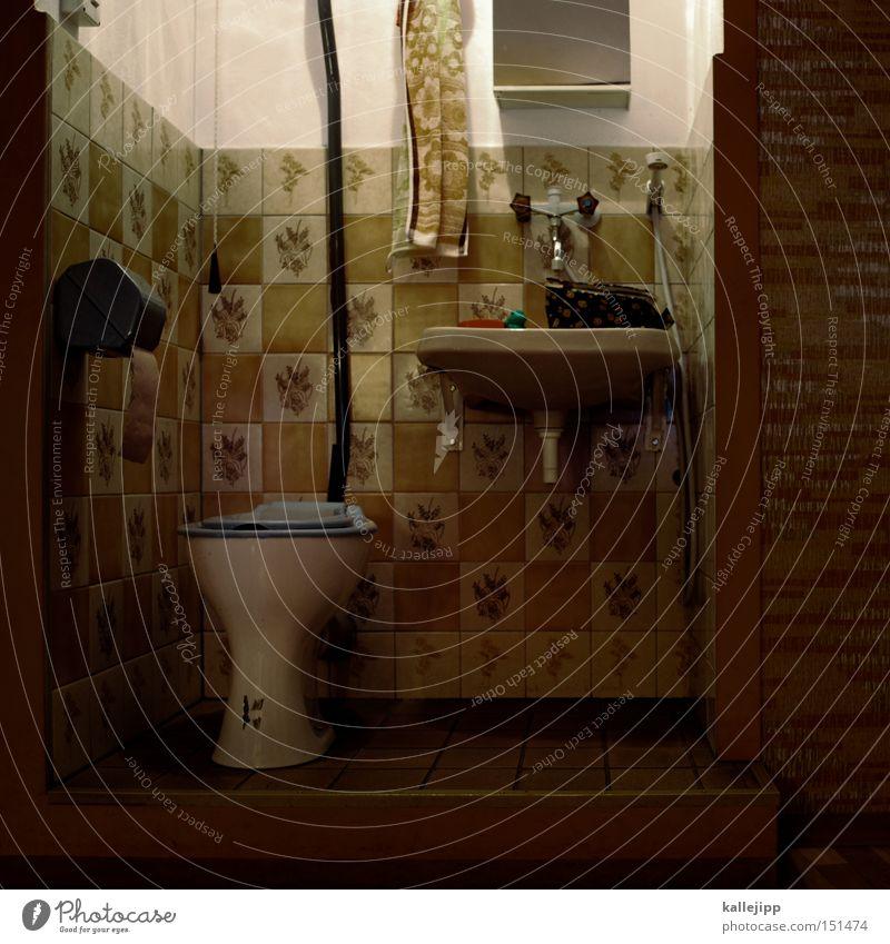 keine panik Häusliches Leben retro Sauberkeit Bad Spiegel Toilette Toilette Tapete Möbel Handtuch Wasserhahn Waschbecken Körperpflegeutensilien steril sanitär Toilettenpapier