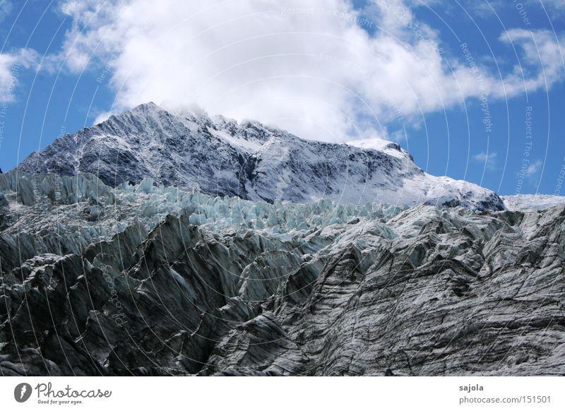 wolkenhut Winter Schnee Berge u. Gebirge Himmel Wolken Eis Frost Gletscher blau weiß Neuseeland gefroren Farbfoto Außenaufnahme Tag Panorama (Aussicht)