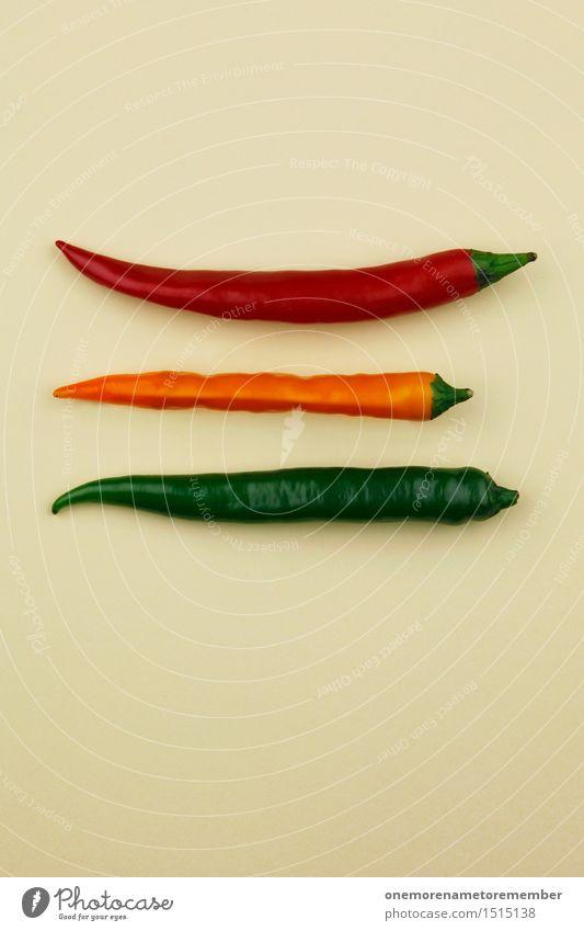 Jammy Chili-Ampel auf Beige Kunst Kunstwerk ästhetisch 3 rot gelb grün beige Scharfer Geschmack Kräuter & Gewürze Küche Team heiß Farbfoto mehrfarbig