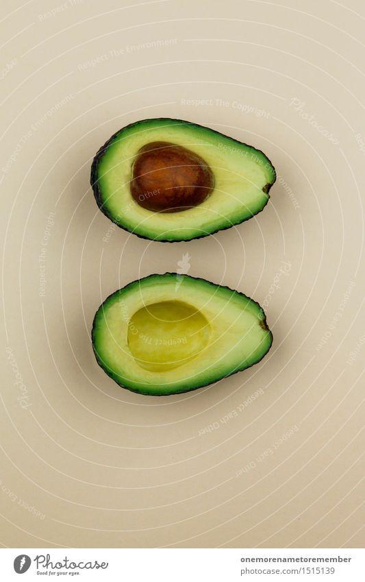 Jammy Avocado auf Beige Gesunde Ernährung Kunst ästhetisch Gemüse lecker Bioprodukte Teilung exotisch Kunstwerk Kerne Südfrüchte Kernobst
