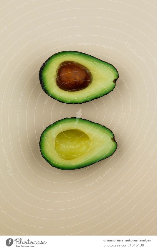 Jammy Avocado auf Beige Kunst Kunstwerk ästhetisch Kernobst Gemüse Südfrüchte exotisch Gesunde Ernährung Kerne Teilung lecker Bioprodukte Farbfoto mehrfarbig