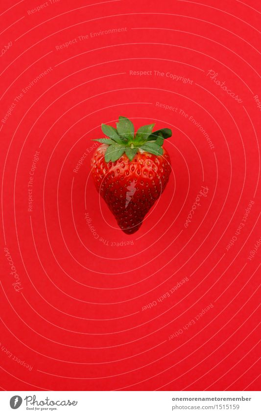 Jammy Erdbeere auf Rot grün rot Kunst Frucht Design ästhetisch lecker Ernte Appetit & Hunger reif Kunstwerk Erdbeeren knallig gestalten Südfrüchte Eyecatcher