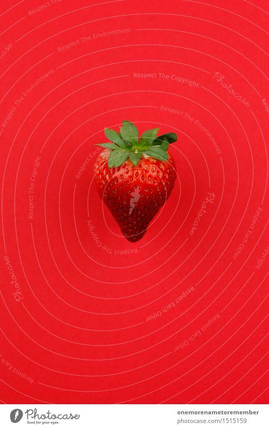 Jammy Erdbeere auf Rot Kunst Kunstwerk ästhetisch Erdbeeren Erdbeereis Erdbeersorten Erdbeer Shake rot lecker Appetit & Hunger Frucht Ernte Design gestalten
