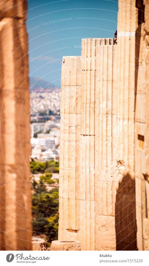Griechenland, Athen, Spalten in der Akropolis Himmel Ferien & Urlaub & Reisen Stadt Sommer Architektur Stil Kunst Stein Design Tourismus Europa Kultur