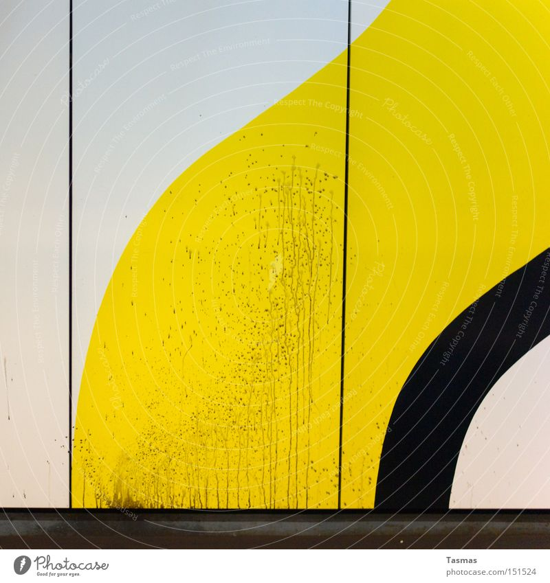 dreckiges Design unordentlich schwarz gelb weiß Farbe Farbstoff Strukturen & Formen Linie graphisch Geometrie Detailaufnahme modern Schilder & Markierungen