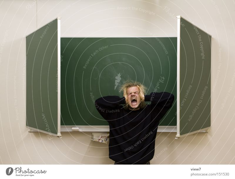 Schule lll - Versetzungsgefährdet. Mann Angst Schilder & Markierungen Bildung schreien Schüler Mensch Panik Lehrer Musiknoten Schulklasse geduldig Ausdauer
