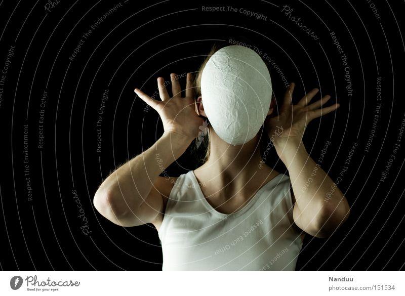 Schweig, so laut Du kannst Mensch Hand weiß ruhig Traurigkeit Angst Kommunizieren Maske hören Panik anonym gesichtslos schweigen beklemmend