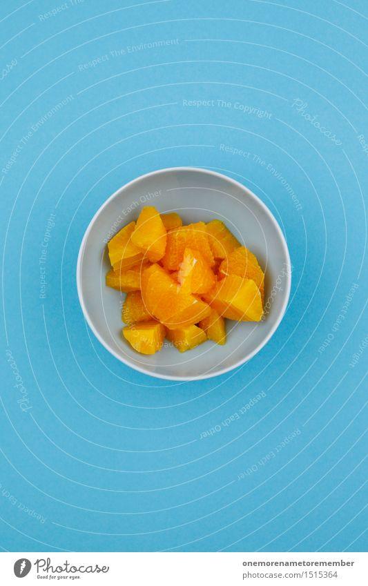 Jammy Orangen-Frühstück auf Blau blau Design orange ästhetisch lecker Teile u. Stücke Appetit & Hunger Schalen & Schüsseln Kunstwerk Komplementärfarbe