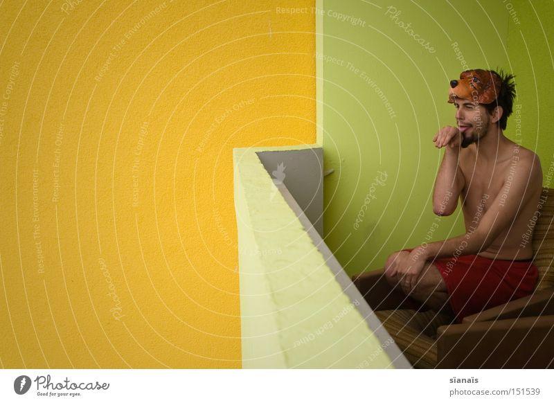 bow-wow woof-woof yum-yum -puppy! Mann Freude Hund lustig Coolness Reinigen Maske Balkon Säugetier Freak Sessel Karnevalskostüm Treue Kostüm verkleiden