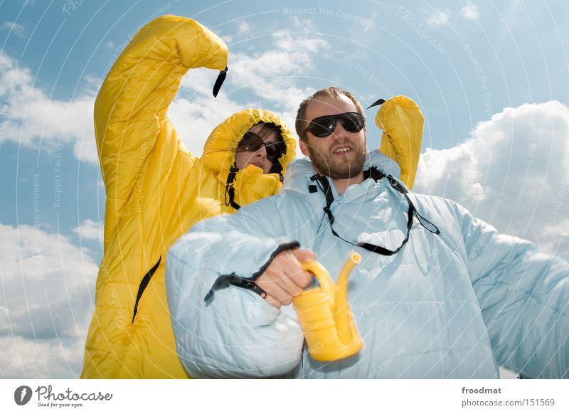 o o o b a m a Jugendliche Sommer Freude Gesicht Wärme lustig verrückt Coolness Frieden Medien Sonnenbrille Kannen Gießkanne Brille Schlafsack