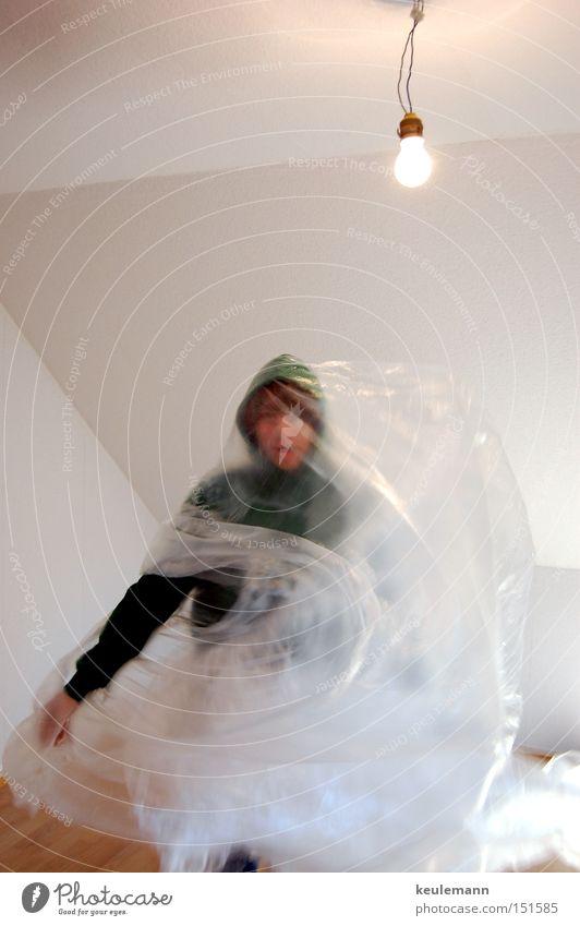 Paperact1 Lampe Baustelle Papier Bewegung grün Folie leer Licht Reflexion & Spiegelung Raum Wohnung Wand weiß Renovieren Freude erschrecken verstecken Mensch