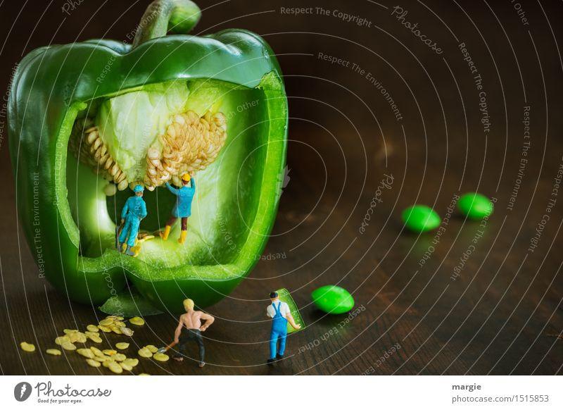 Mini - Welten Grüne Paprika (Kern) Ernte Mensch Mann Pflanze grün Erwachsene braun Arbeit & Erwerbstätigkeit maskulin Ernährung Papier Baustelle Landwirtschaft