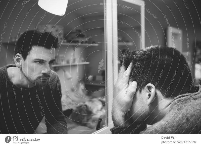 Das schlechte Gewissen Mensch Jugendliche Mann Junger Mann Erwachsene Leben Traurigkeit Hintergrundbild Kunst Kopf maskulin träumen Angst authentisch verrückt