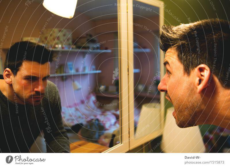 Angst vor sich selbst Mensch Jugendliche Mann Junger Mann Erwachsene Leben Kunst maskulin authentisch beobachten bedrohlich Todesangst Wut Spiegel gruselig