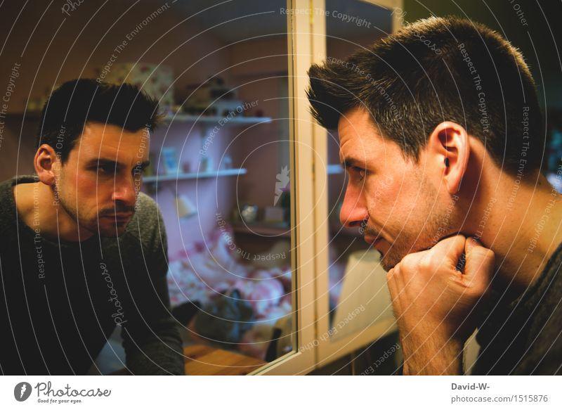 gut und böse Mensch Jugendliche Mann Junger Mann Gesicht Erwachsene Leben Gesundheit Kunst maskulin träumen Spiegel Medikament skurril