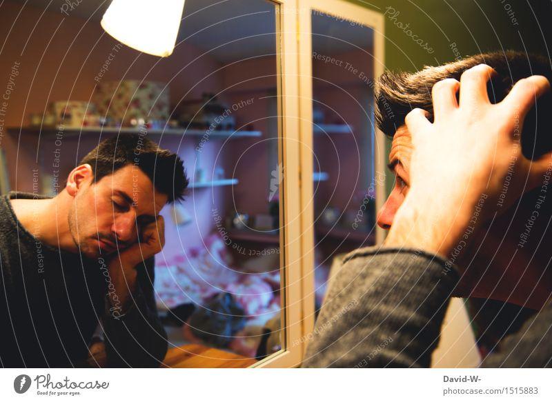 müde Mensch Jugendliche Mann Junger Mann Erwachsene Leben Kunst Kopf maskulin träumen beobachten schlafen Spiegel brünett Müdigkeit Künstler