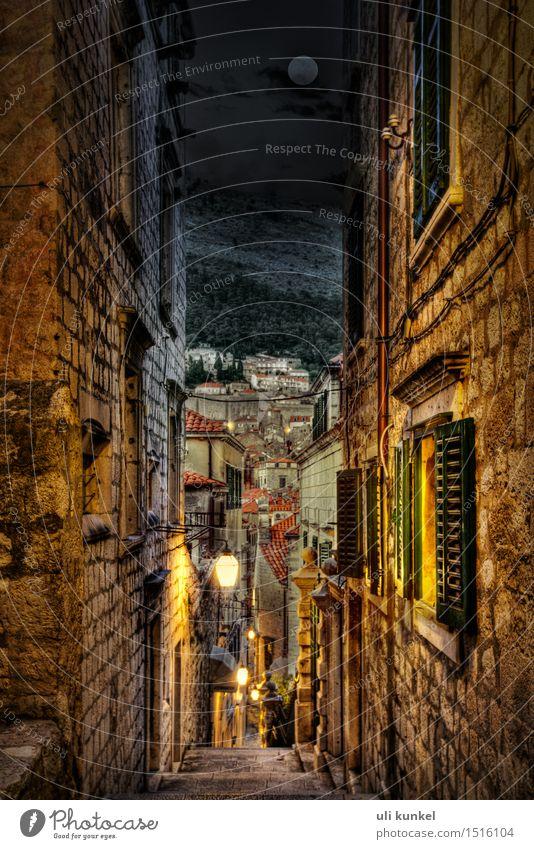 Dubrovnik bei Nacht HDR Tourismus Ausflug Sightseeing Städtereise Sommer Kroatien Europa Kleinstadt Stadt Hafenstadt Stadtzentrum Altstadt Menschenleer Haus