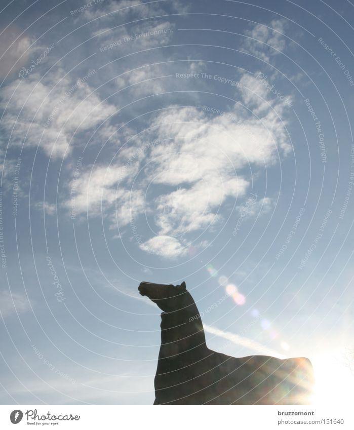 Der linke Rossebändiger Himmel Wolken Pferd Denkmal Wahrzeichen Düsseldorf Blendenfleck Cirrus Skulptur Die Rossbändiger