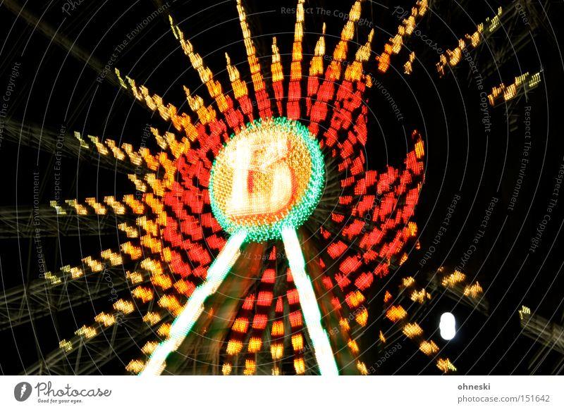 Wir reiten auf die Kirmes Riesenrad Jahrmarkt Licht dunkel mehrfarbig Pferdekopf Kopf Silhouette Abend Beleuchtung Weihnachtsmarkt Freude