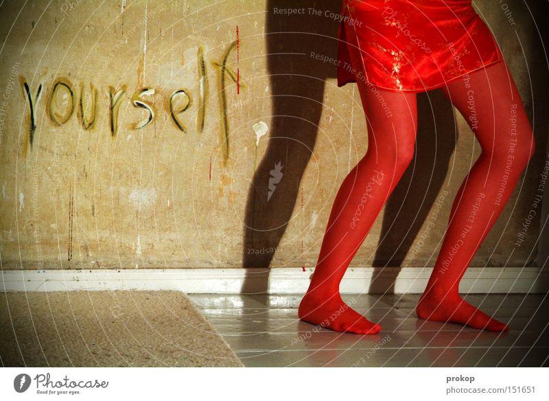 Ego Plus Frau Mensch Freude Spielen Beine Tanzen gehen verrückt Rock Strümpfe Strumpfhose Wäsche Text Handschrift