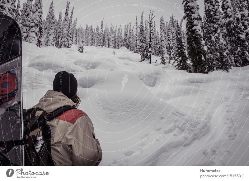 Snowboarder geht Skitour maskulin Junger Mann Jugendliche 1 Mensch Sport ästhetisch Coolness Amerika Skifahren Powder Backcountry Winter Schnee Pulverschnee