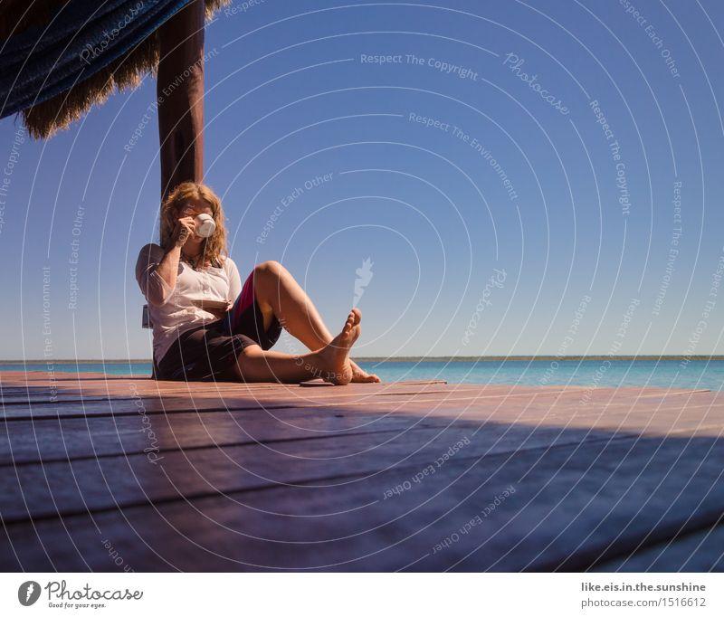 Zeit für mich II Frau Ferien & Urlaub & Reisen Jugendliche schön Junge Frau Meer Erholung ruhig 18-30 Jahre Erwachsene Leben feminin Glück Freiheit Zufriedenheit blond