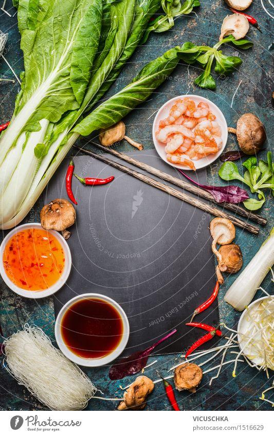 Kochzutaten für Asiatische Küche Lebensmittel Meeresfrüchte Gemüse Salat Salatbeilage Kräuter & Gewürze Öl Ernährung Mittagessen Abendessen Bioprodukte