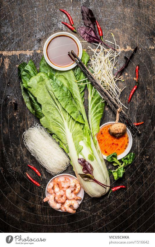 Frische Zutaten für asiatisch Kochen Gesunde Ernährung Leben Stil Lebensmittel Design Tisch Kräuter & Gewürze Küche Gemüse Bioprodukte Restaurant Pilz