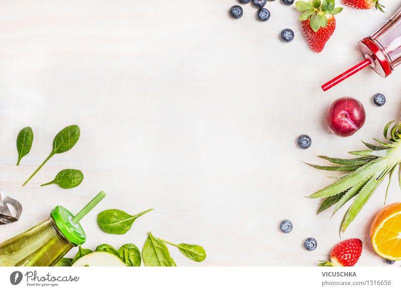 Smoothies und frische Zutaten Gesunde Ernährung Leben Stil Hintergrundbild Lifestyle Lebensmittel Design Frucht Glas Getränk Gemüse Bioprodukte Frühstück