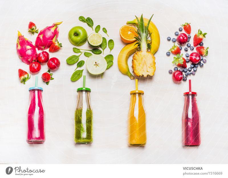 Bunte Smoothie mit Obst Zutaten Sommer Gesunde Ernährung gelb Leben Stil Lebensmittel rosa Frucht Design Orange Getränk Fitness Bioprodukte Frühstück Dessert