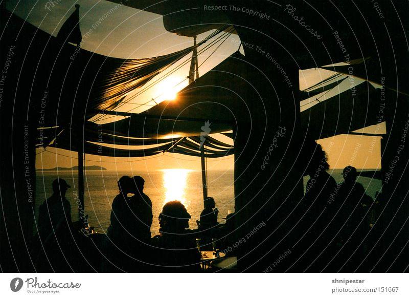Live @ Café del Mar No.4 Meer Sonnenuntergang Strand Stein Erholung Musik Ambiente Mensch Ibiza Sommer genießen Ferien & Urlaub & Reisen Club Menschengruppe