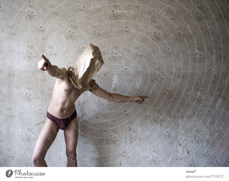 Darsteller lll - Projektleiter Mensch Mann nackt lustig Körper Haut Ordnung Konzentration Tapete trashig Leitung Tüte Unsinn Vorgesetzter Entscheidung