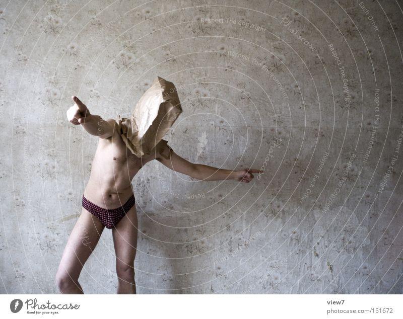 Darsteller lll - Projektleiter Mensch Mann nackt lustig Körper Haut Ordnung Konzentration Tapete trashig Leitung Tüte Unsinn Vorgesetzter Entscheidung Installationen