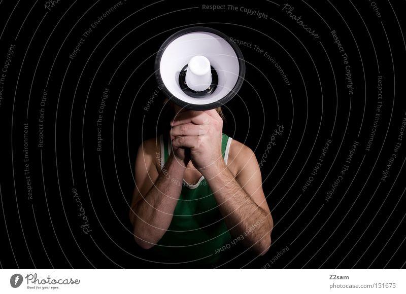 sprachrohr Sprachrohr Megaphon laut schreien Mann Lautstärke Schreihals Kommunizieren Kopf festhalten