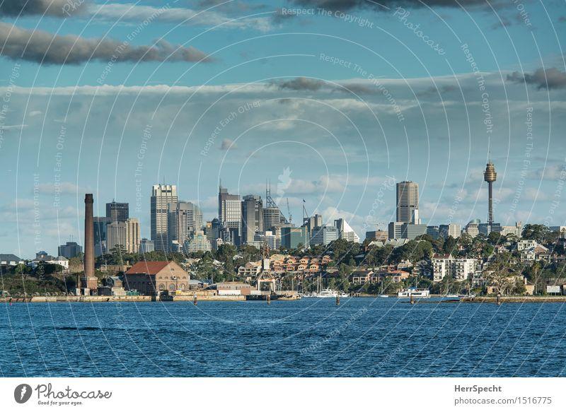 Sydney CBD Ferien & Urlaub & Reisen Tourismus Ferne Städtereise Meer Insel Wellen Himmel Wolken Sommer Schönes Wetter Pazifik Stadtzentrum Hafenstadt Skyline