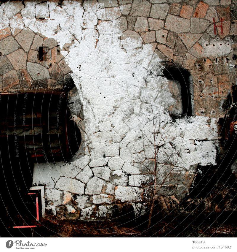 Fotonummer 106325 alt weiß Einsamkeit Farbe Wand Stein Farbstoff Hintergrundbild Industrie trist Ödland Bunker Farbfleck