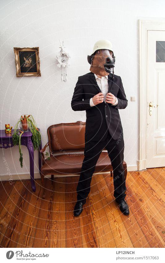 LP.HORSEMAN. XX Veranstaltung ausgehen Karneval Halloween Mann Erwachsene 1 Mensch Mode Schutzbekleidung Anzug Helm Pferd Tier retro Stadt bizarr elegant