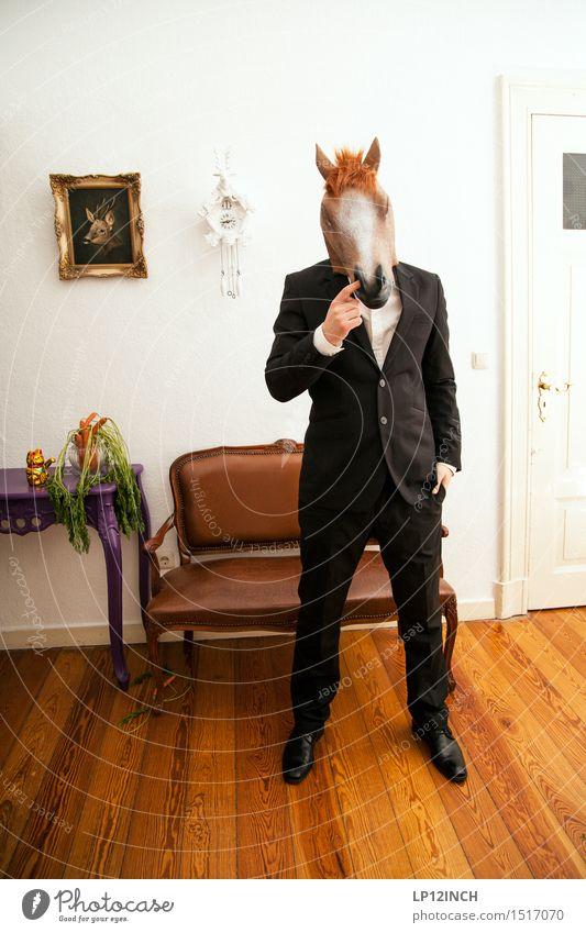 LP.HORSEMAN. XVIII elegant Stil Veranstaltung ausgehen Karneval Halloween maskulin Mann Erwachsene 1 Mensch Mode Anzug Tier Pferd Erotik Stadt verrückt schwarz