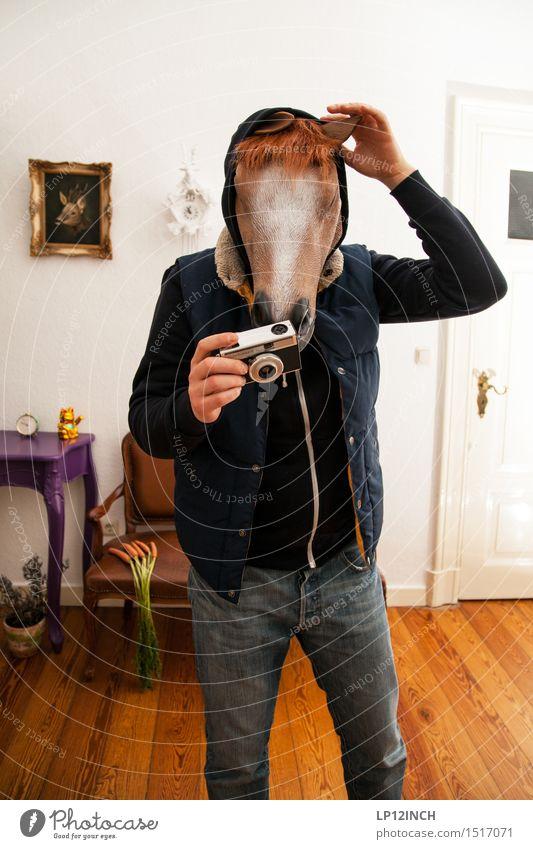 LP.HORSEMAN. XVII Häusliches Leben Wohnung Innenarchitektur Dekoration & Verzierung Karneval Halloween maskulin Mann Erwachsene 1 Mensch Tier Pferd Denken