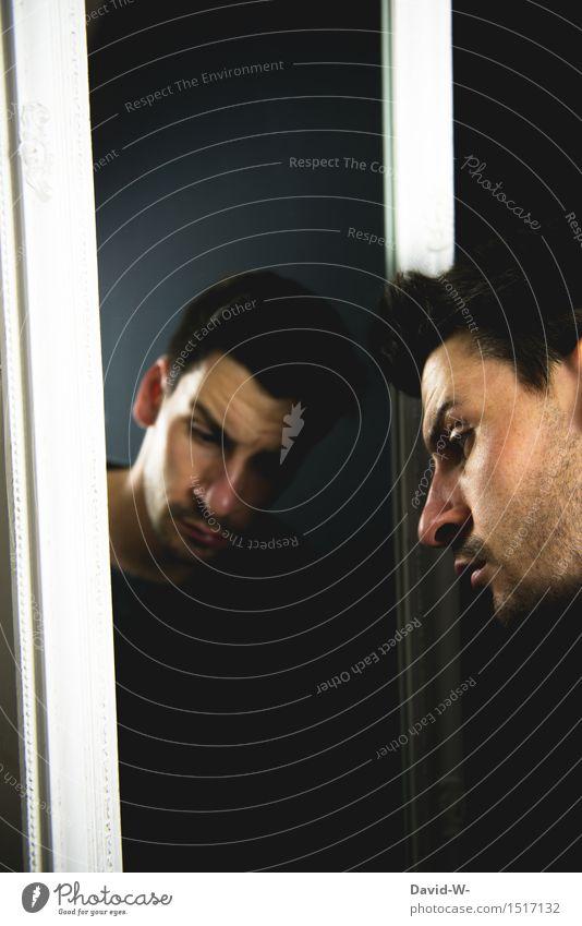 einsam aber nicht allein Mensch Jugendliche Mann Junger Mann Einsamkeit Erwachsene Leben Traurigkeit Gefühle Kunst Denken Kopf maskulin träumen nachdenklich