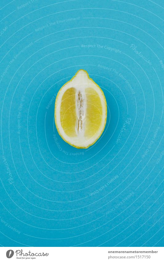 Jammy Zitronen-Hälfte auf Blau Kunst Kunstwerk ästhetisch Zitrusfrüchte Frucht zitronengelb Zitronensaft Zitronenschale Zitronenscheibe blau vitaminreich