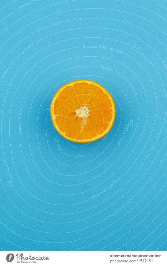 Jammy Orange auf Blau Kunst ästhetisch Orangensaft Orangerie Orangenbaum Orangenscheibe blau Komplementärfarbe Kontrast Design innovativ gestalten Kunstwerk