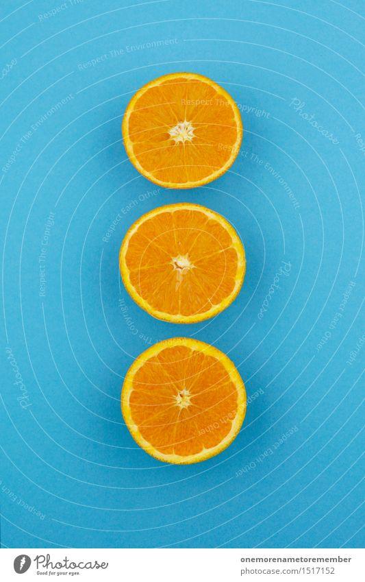 Jammy Orangen-Dreier auf Blau Kunst Kunstwerk ästhetisch Orangensaft Orangenhaut Orangenscheibe Orangentee blau 3 Reihe Symmetrie Teilung Kontrast